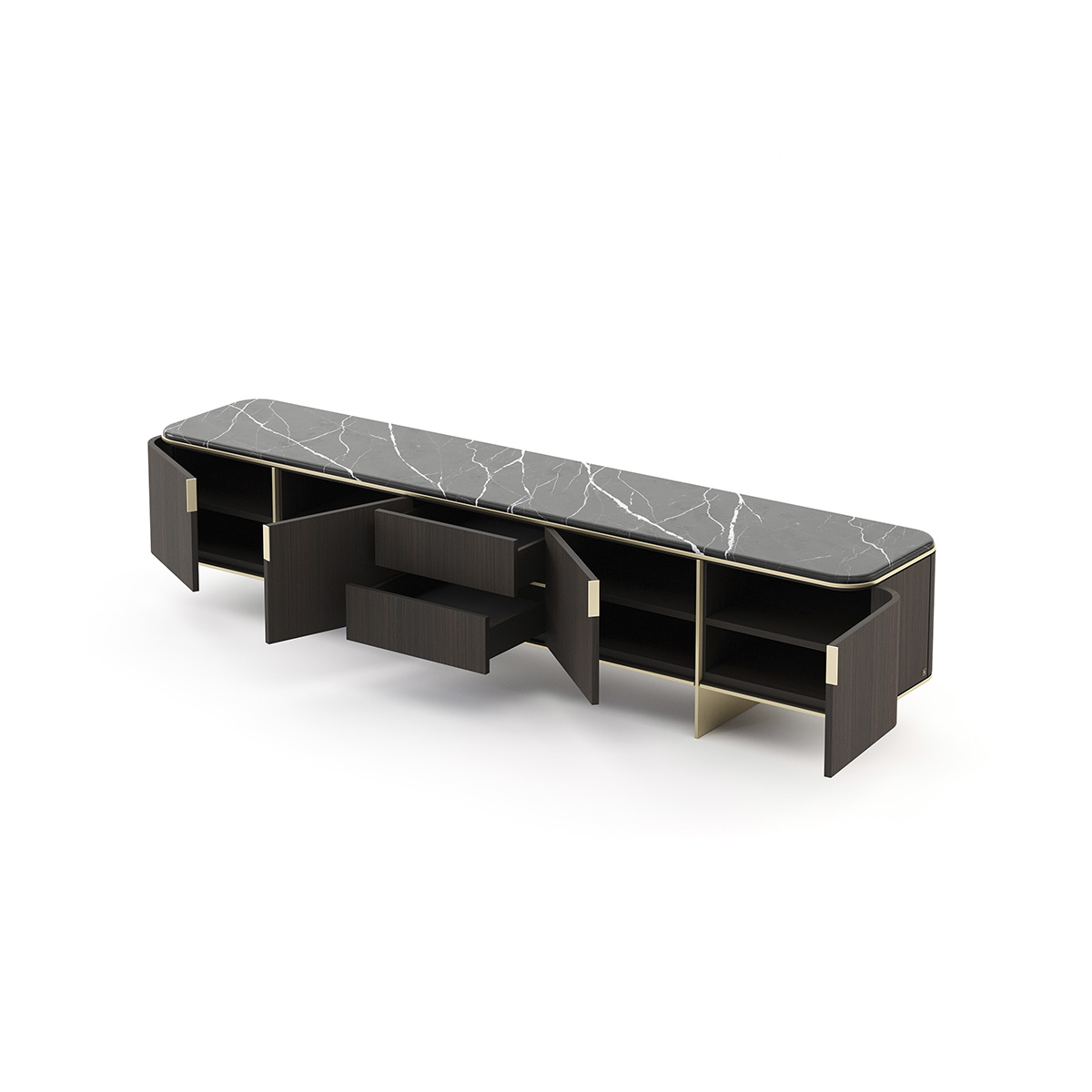 Sideboard Wood Base Stainless Steel Golden Top Marble