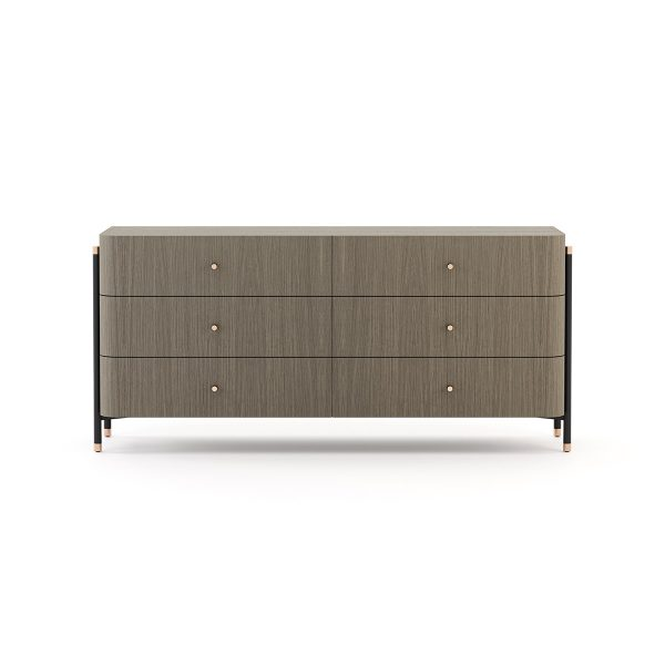 Chest of drawers Wood Gray 6 drawers Metal handles