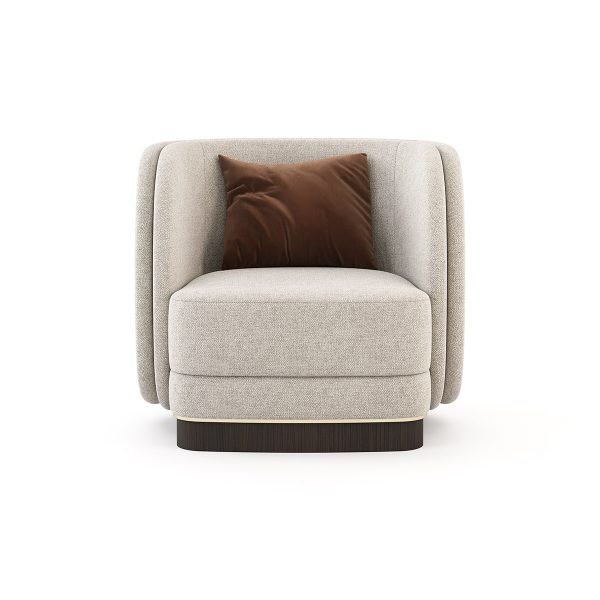 Upholstered Armchair Modern Metal Base